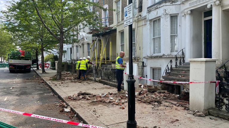 Partial roof collapse in Ladbroke Grove London