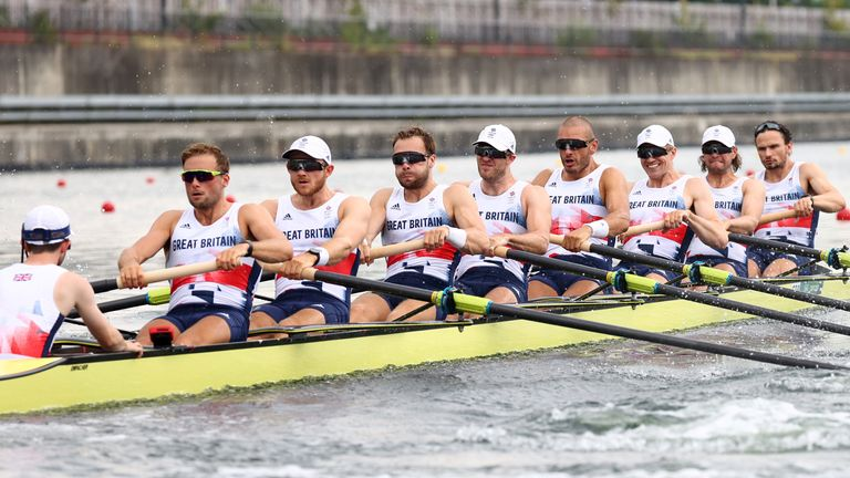 Tokyo 2020 Olympics - Rowing - Men's Eight - Final A - Sea Forest Waterway, Tokyo, Japan - July 30, 2021. Coxwain Henry Fieldman of Britain, Joshua Bugajski of Britain, Jacob Dawson of Britain, Thomas George of Britain, Mohamed Sbihi of Britain, Charles Elwes of Britain, Oliver Wynne-Griffith of Britain, James Rudkin of Britain and Tom Ford of Britain REUTERS/Leah Millis