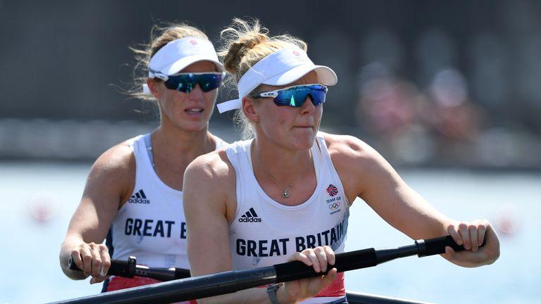 Tokyo 2020 Olympics - Rowing - Women's Pair - Heats - Sea Forest Waterway, Tokyo, Japan - July 24, 2021. Helen Glover of Britain and Polly Swann of Britain in action REUTERS/Piroschka Van De Wouw