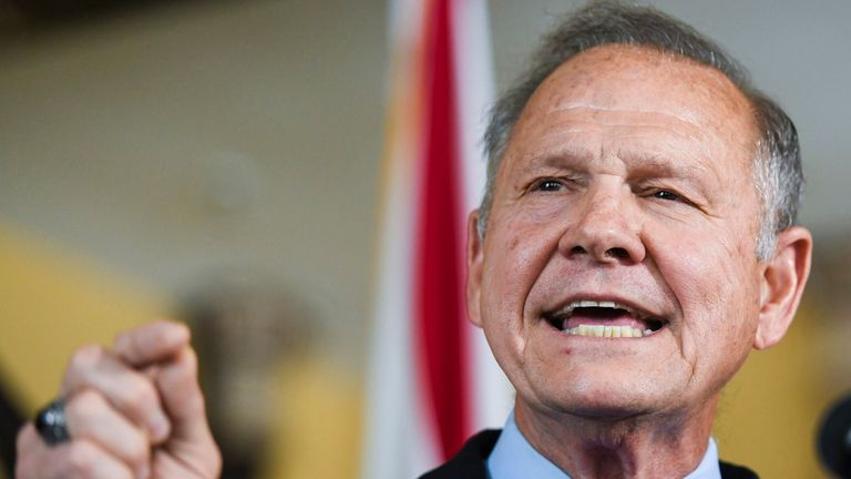 Former Alabama Chief Justice Roy Moore announces, in Montgomery, Ala., his run for the Republican nomination for U.S. Senate. Pic: AP