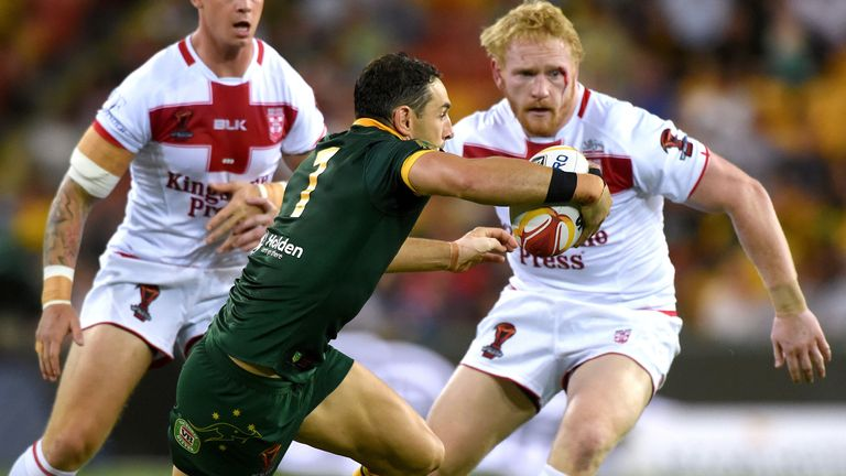 Rugby League World Cup - England vs Australia - Land Park, Brisbane, Australia Rugby League World Cup - England vs Australia - Land Park, Brisbane, Australia - December 2, 2017. England's James Graham and Kevin Brown prepare to tackle Australia's Billy Slater during their final match. REUTERS/Steve Holland