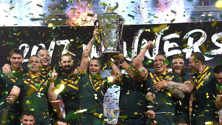 Rugby League World Cup - England vs Australia - Land Park, Brisbane, Australia Rugby League World Cup - England vs Australia - Land Park, Brisbane, Australia - December 2, 2017. The Australian team celebrate with the trophy after defeating England in the final. REUTERS/Steve Holland