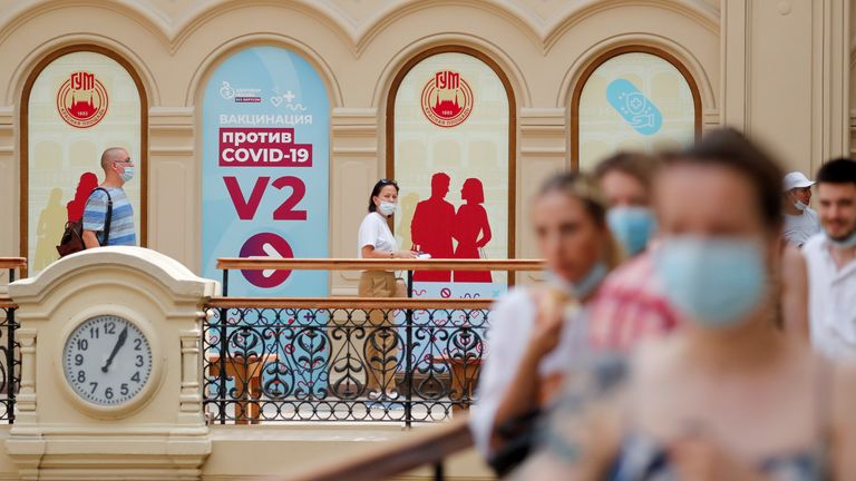 People line up to get the jab outside a vaccination centre in central Moscow