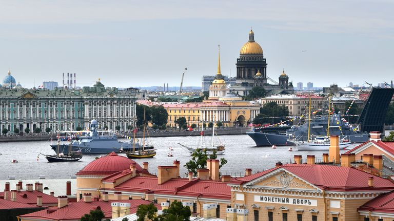 Navy ships can be seen on the river in St Petersburg
