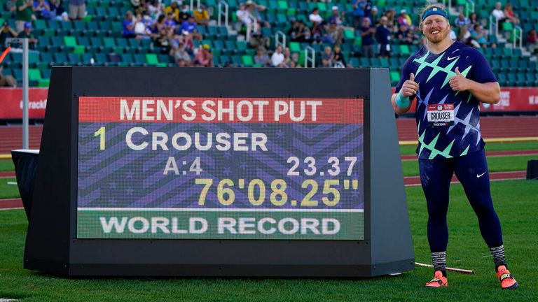 Ryan Crouser is looking to break another record. Pic: AP