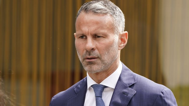 Former Manchester United footballer Ryan Giggs arrives at Manchester Crown Court where he is charged with assaulting two women and controlling or coercive behaviour. Picture date: Friday July 23, 2021.