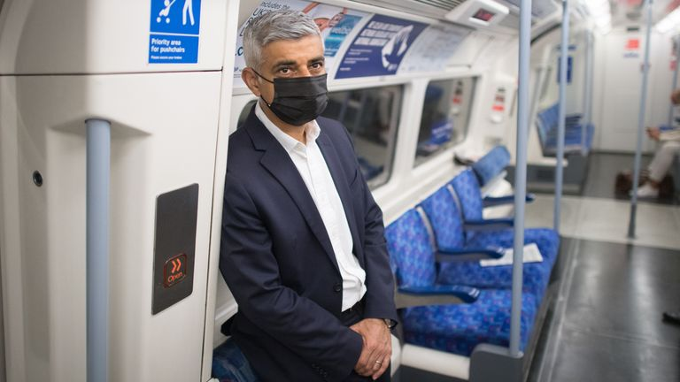 Mayor of London Sadiq Khan travels to City Hall by Tube
