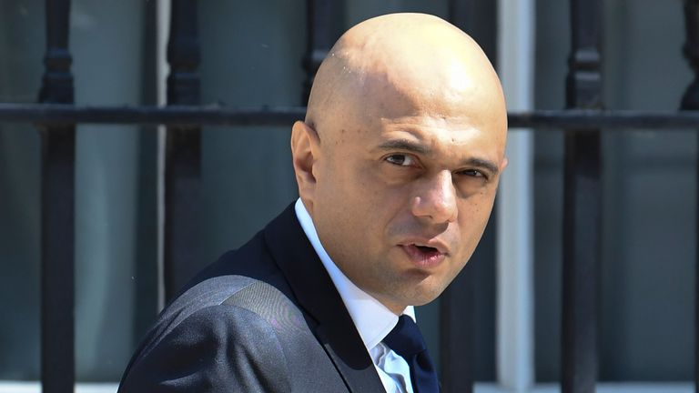Sajid Javid pictured leaving Number 10 on Friday. Pic: @PoliticalPics