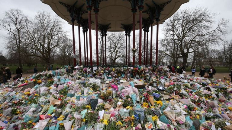 Messages and flowers were left in tribute for Sarah Everard following her killing