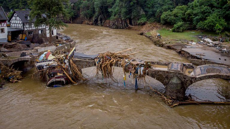 A bridge covered in debris in Schuld, Germany. Pic: Associated Press