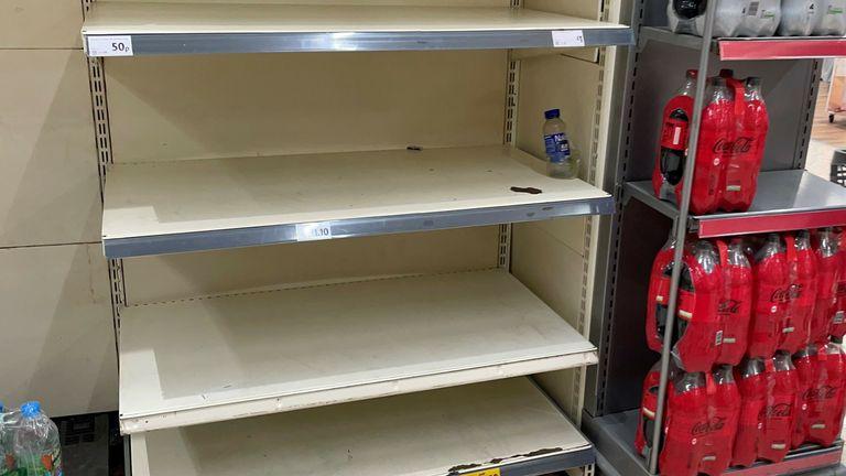 Empty shelves at Morrisons in BelleVale, Liverpool.