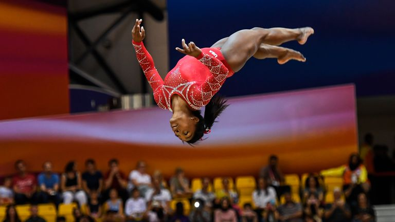 Simone Biles pictured at the 2018 World Championships in Doha, Qatar. Pic: AP
