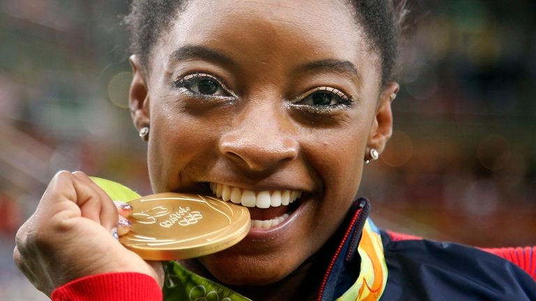 Simone Biles won four gold medals and a bronze at Rio 2016. Pic: AP