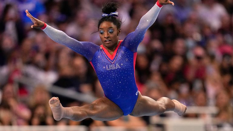 Simone Biles competes in the US Olympic gymnastics trials in June. Pic: AP
