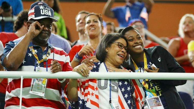 Simone BIles' adoptive parents Ron and Nellie and her sister Adria