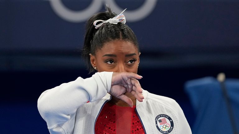 Simone Biles dropped out of the gymnastics event on Tuesday for 'medical reasons' Pic: AP