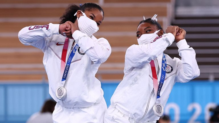 """Simone Biles (right) dropped out of the gymnastics event on Tuesday for """"medical reasons"""""""