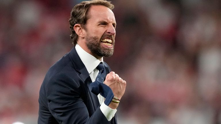 Manager Gareth Southgate celebrates taking his team to the brink of glory
