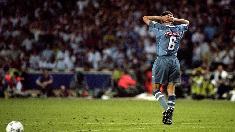 Southgate pictured after missing a penalty at Euro 96