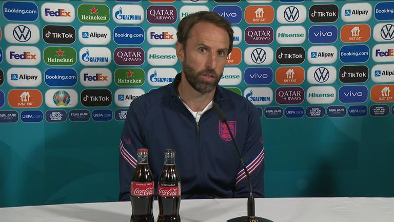England manager Gareth Southgate answers questions at press conference ahead of  tomorrow's Euros final