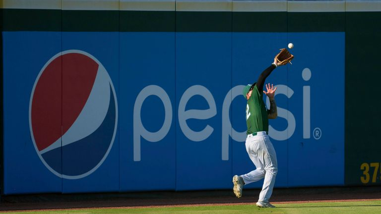 Daytona Tortugas outfielder Wendell Marrero (32) catches a fly ball during a game against the Bradenton Marauders on June 9, 2021 at LECOM Park in Bradenton, Florida. Pic: AP