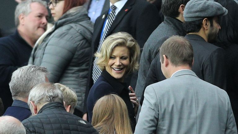 Amanda Staveley in the stands during the Premier League match at St James' Park, Newcastle