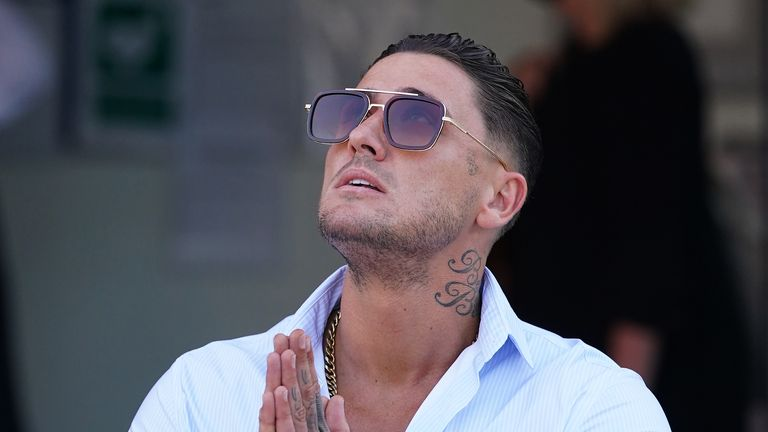 Reality TV star Stephen Bear arrives at Colchester Magistrates' Court where he is appearing charged with voyeurism, disclosing private, sexual photographs and films with intent to cause distress, and harassment without violence. Picture date: Friday July 2, 2021.