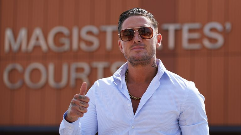 Reality TV star Stephen Bear leaves Colchester Magistrates' Court where he is appearing charged with voyeurism, disclosing private, sexual photographs and films with intent to cause distress, and harassment without violence. Picture date: Friday July 2, 2021.