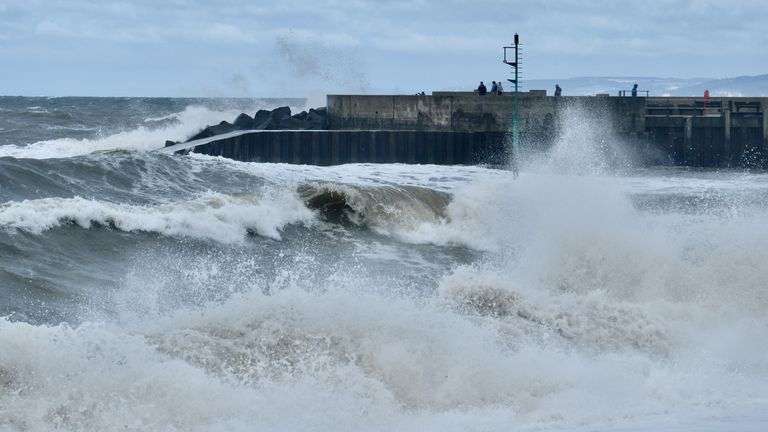 West Bay in Dorset as Storm Evert brings gale force winds. Pic:Tom Corban/Shutterstock