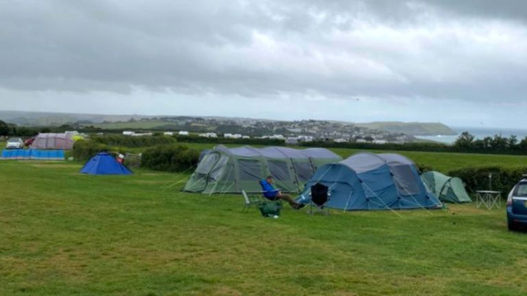 """Handout photo of Mark Morgan-Hillam and his familyÕs tent on the camp site they were staying at on Thursday night, which was just above Polzeath, after winds of up to 75mph lashed parts of the South West as Storm Evert hit the UK on Thursday and Friday. The Met Office said the newly named storm will bring """"unseasonably strong winds and heavy rain"""". Issue date: Friday July 30, 2021."""