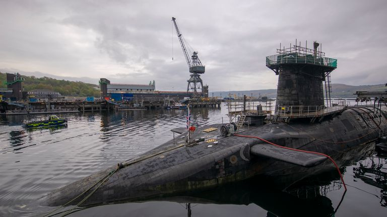 HMS Vigilant at HM Naval Base Clyde, Faslane, the Vanguard-class submarine carries the UK's Trident nuclear deterrent. 29/4/2019