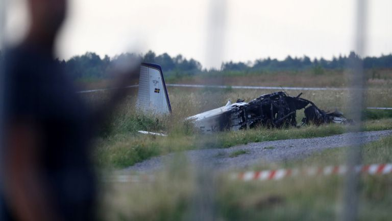 The remains of the aircraft are pictured near Orebro Airport