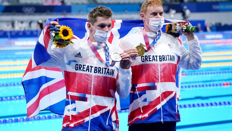 Tom Dean (right) and Duncan Scott won gold and silver respectively, the first time since 1908 two Brits have taken first and second in swimming