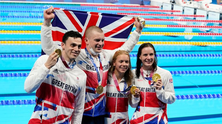 Adam Peaty, James Guy, Anna Hopkin and Kathleen Dawson celebrate after winning the inaugural 4x100 medley relay. Pic: Rob Schumacher-USA TODAY Sports