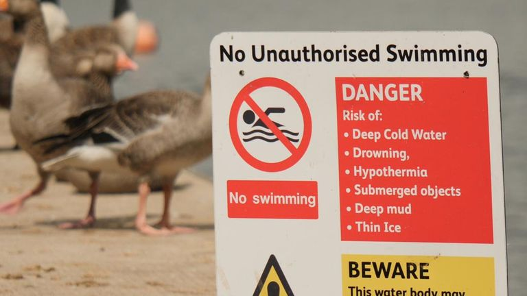 Fire services say people must not get in the water if they see warnings about swimming