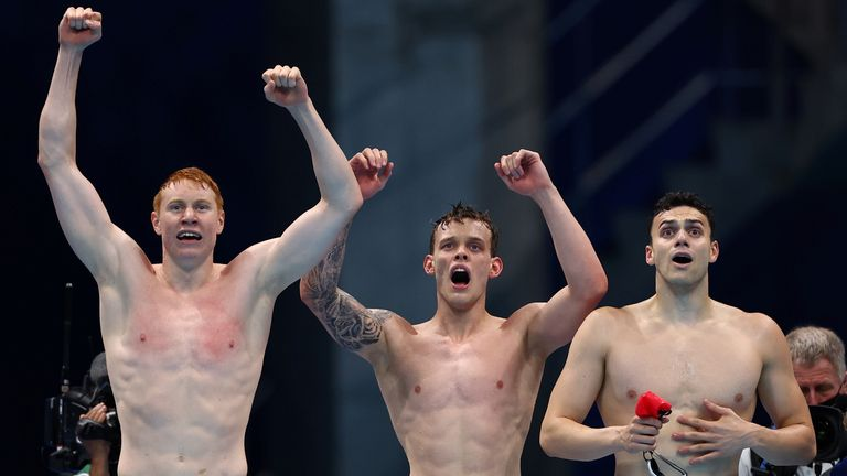 Highlights of Wednesday's games when Team GB won medals in men's 200m freestyle relay, men's quad sculls and individual dressage.