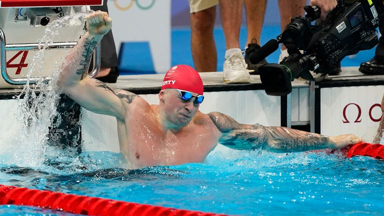 Adam Peaty comfortably took gold in the 100m breaststroke