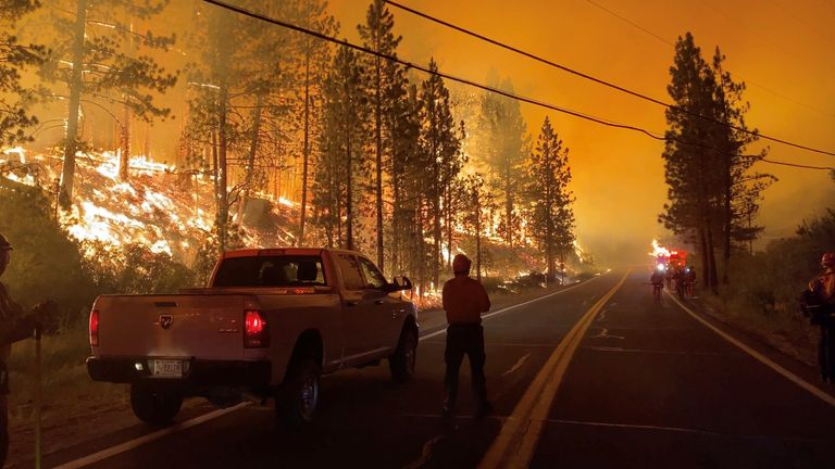 The Tamarack fire continues to threaten communities on both sides of the California-Nevada state line. Pic: 564 Fire/via REUTERS
