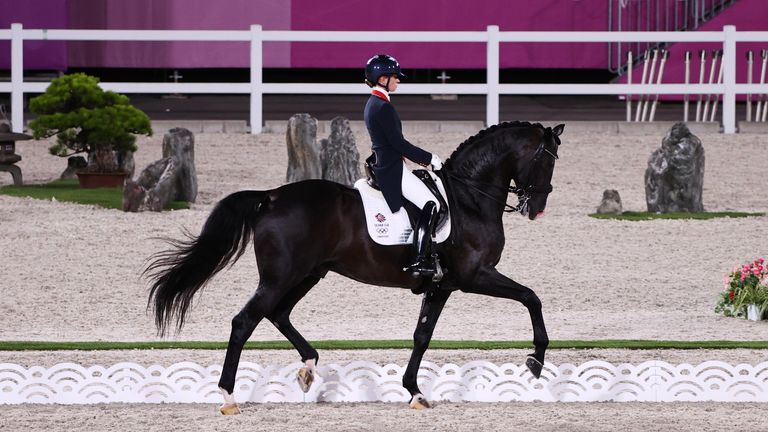 Equestrian - Dressage - Grand Prix Special - Team Tokyo 2020 Olympics - Equestrian - Dressage - Grand Prix Special - Team - Equestrian Park - Tokyo, Japan - July 27, 2021. Charlotte Fry of Britain on her horse Everdale competes. REUTERS/Alkis Konstantinidis