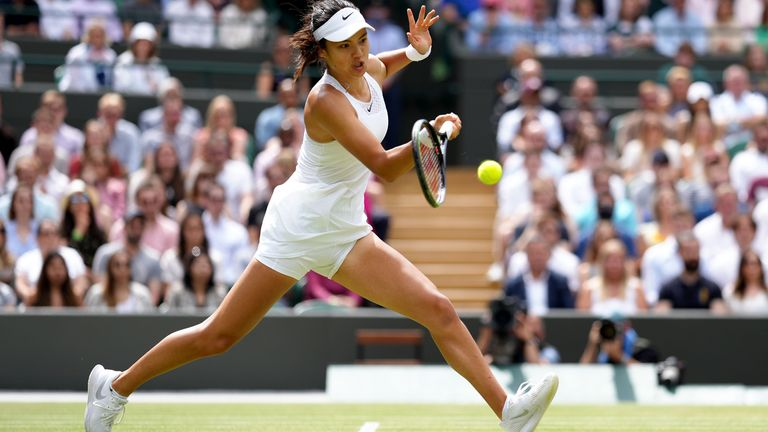 Emma Raducanu in action during her Ladies' Singles third round match against Sorana Cirstea