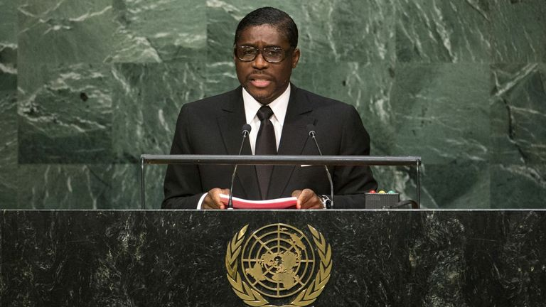 Equatorial Guinea's Second Vice-President Teodoro Nguema Obiang Mangue faces sanctions from the UK. File pic
