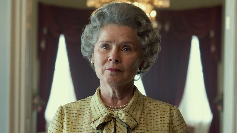 Netflix has released the first image showing Imelda Staunton in character as the Queen in The Crown. Pic: Netflix