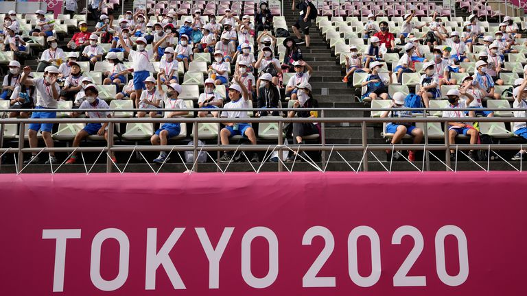 Spectators watch a men's soccer match between New Zealand and South Korea at the Tokyo 2020 Olympics. Pic: AP