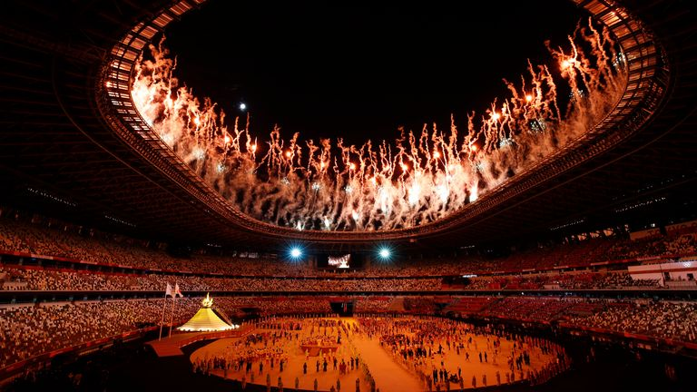 The opening Olympics ceremony inside the stadium in Tokyo