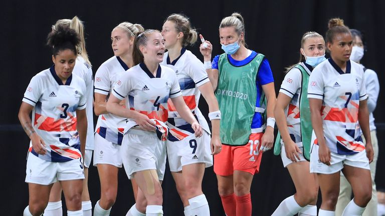 Team GB beats Japan in women's football. Pic: AP
