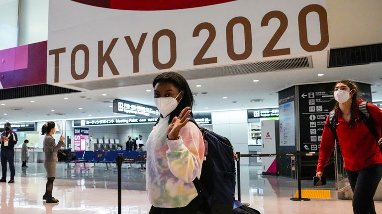 Gymnastics superstar Simone Biles arrive in Japan ahead of the Games Pic; AP