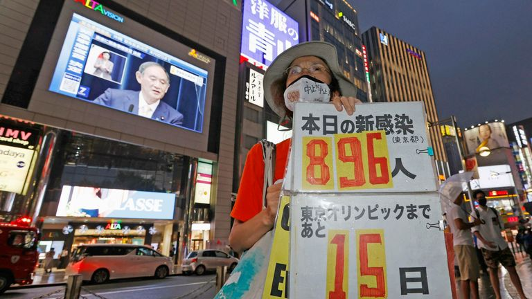 Demonstrators have been protesting against the move to hold the games in Tokyo during the pandemic