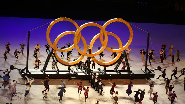 The Olympic rings are formed using wood from trees planted during 1964 Olympics, which were also hosted in Tokyo