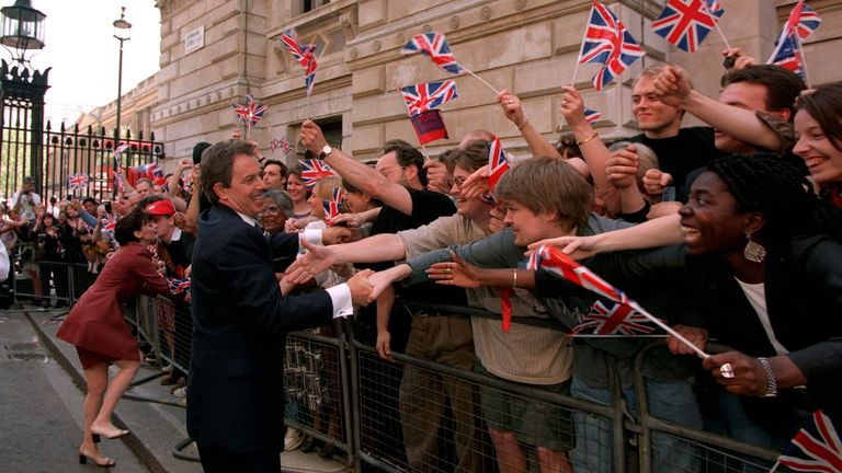 Tony Blair greets well-wishers at Downing Street after winning the 1997 election