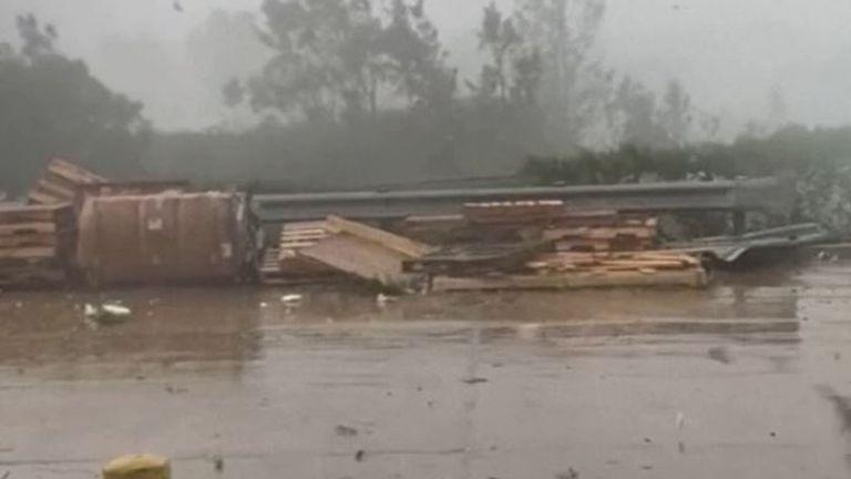 Tornado sends debris flying in Pennsylvania